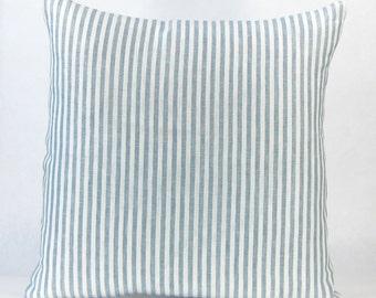 Blue Cottage Beach Euro Sham - Striped Linen Coastal Designer Throw Pillow, Decorative Pillow