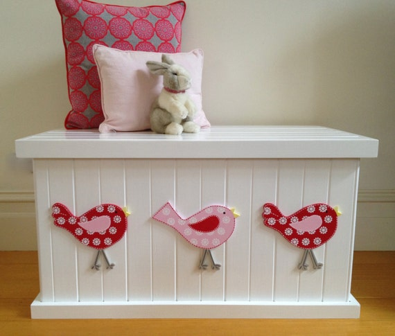 Toy Box Bird Cherry Red Pink Girls Toy by littlebigdesignsshop