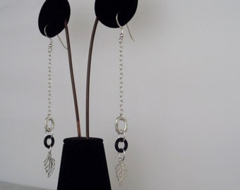 Dangle Black Rubber and Sterling Silver (925) Earrings