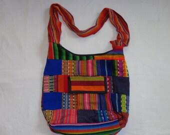 Cotton Crossbody Bag Hobo Bag Multi Color Patches Hippie