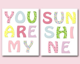You are my sunshine Digital Print Printable Art Baby Girl Nursery Children Art Baby Girl Room Decor set of 2 8x10 11X14 INSTANT DOWNLOAD