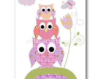 Owl Decor Owl Nursery Art Baby Girl Nursery Digital Download Art Printable Digital Download Print 8x10 11X14 Kids INSTANT DOWNLOAD Wall Art