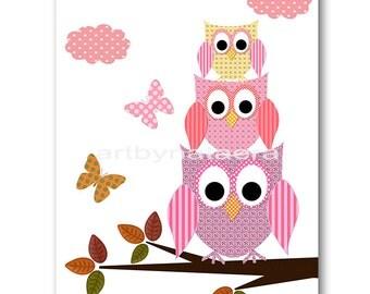 INSTANT DOWNLOAD Art Owl Decor Owl Nursery Digital Print Baby Girl Nursery Decor Printable Wall Art Digital Download Art 8x10 11X14 rose