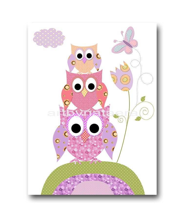 Owl decor owl nursery art baby girl nursery digital download - Girl owl decor ...