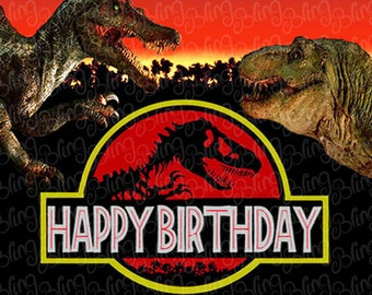 Jurassic Park Edible Icing Quarter Sheet Cake Decor Topper - JP1A