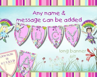 Fairy friends large banner birthday any age and name added