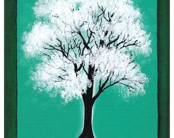 White tree, Green Background