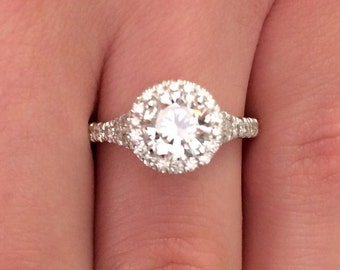1.62 CT Round Cut d/si1 Diamond Solitaire Engagement Ring 14k White Gold