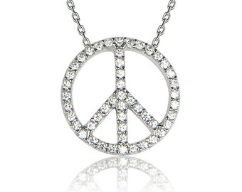 Peace Sign Necklace in 925 Sterling Silver and Sparkly Zirconia • Take it For a Spin Spreading Love and Peace