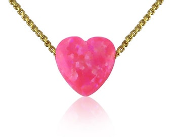 Heart Opal Necklace on Gold Plated Silver Chain • Waterproof Chain • Kids Love This Pink Opal Heart and it Comes in 6 Chain Lengths