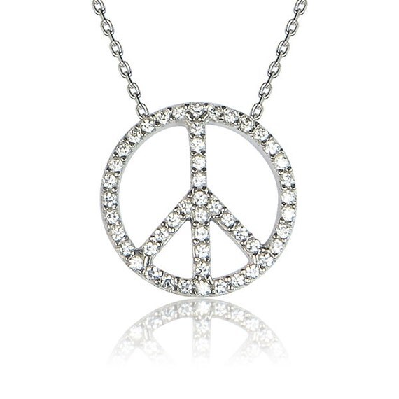 peace sign necklace silver