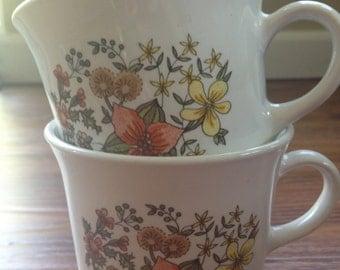 Vintage 1970's Corelle mugs-set of 2, Indian Summer
