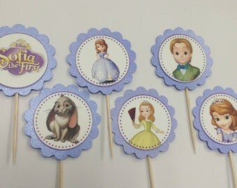 Sophia the First themed cupcake toppers