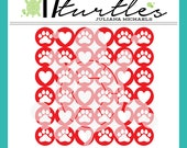 Paw Prints & Hearts Background Digital Cut File | Created for a variety of craft projects including paper crafting, scrapbooking and more.