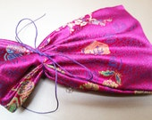super fancy reusable fabric giftwrap SMALL - fuchsia gold oriental brocade