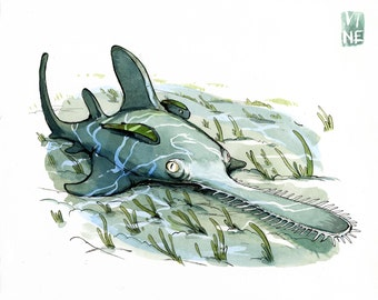 Saw Shark /  Giclee of watercolor by JP Vine, 9 x 12 in