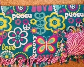 Groovy and purple zebra print tie blanket, fleece tie blanket