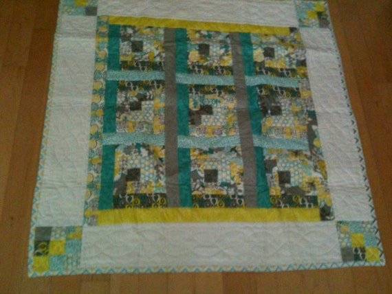 Items similar to 100 cotton baby boy square quilt or for Floor quilt for babies