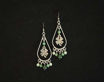 Four-Leaf Clover Chandelier Earrings
