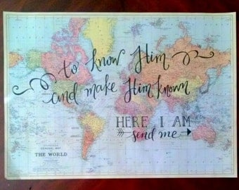 Vintage Map with Customized Calligraphy