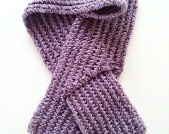 Light Purple Chunky Lace Medium Key Hole Girl's Knitted Scarf