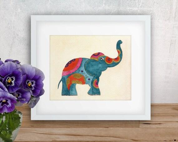 Blue Thai Elephant Watercolor Art Print Beautiful Home