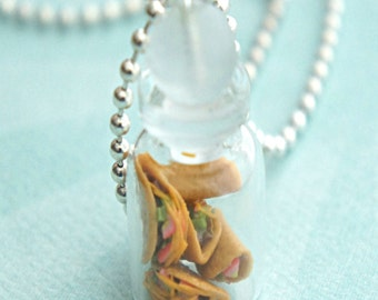 tacos in a jar necklace- bottle necklace, miniature food jewelry