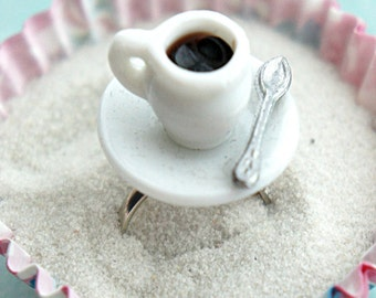 coffee cup ring- miniature food jewelry, food ring