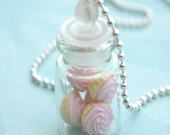 pink cupcakes in a jar necklace- cupcake necklace, miniature food jewelry
