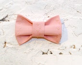 Embroidered women's bow tie in handmade Pink Flowers Pastel Blush Floral pattern Rose quartz bow tie Girls bow tie Gift for her Preppy bow