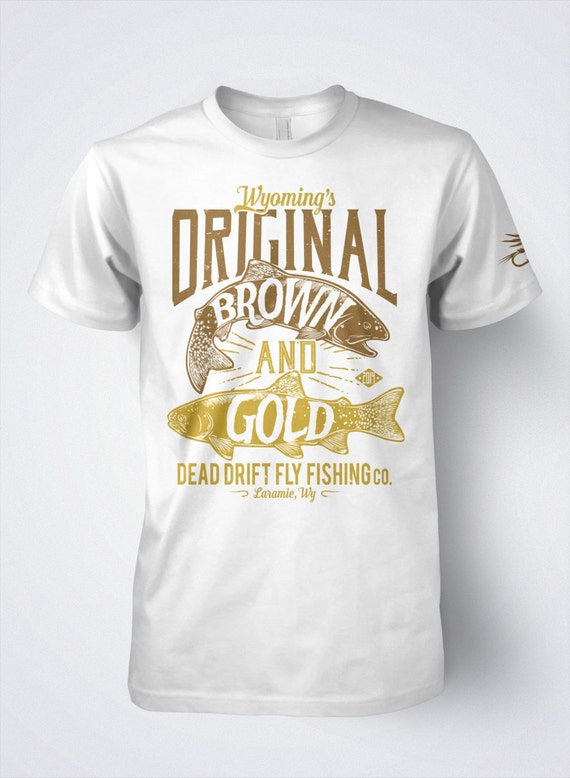 Fly fishing t shirt for men brown and golden trout by for Fly fishing shirt