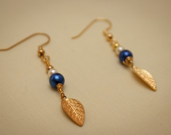 Small Dark Blue Pearlescent Leaf Charm Earrings