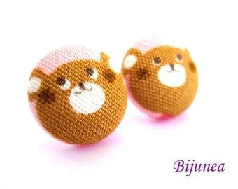 Bear earrings - Brown bear stud earrings - Bear studs - Bear posts - Brown bear post earrings sf574