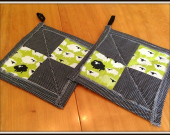Pieced & Quilted Sheep Potholders