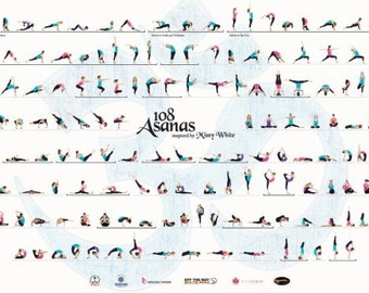 108Asanas series Yoga Poster designed by teacher Missy White