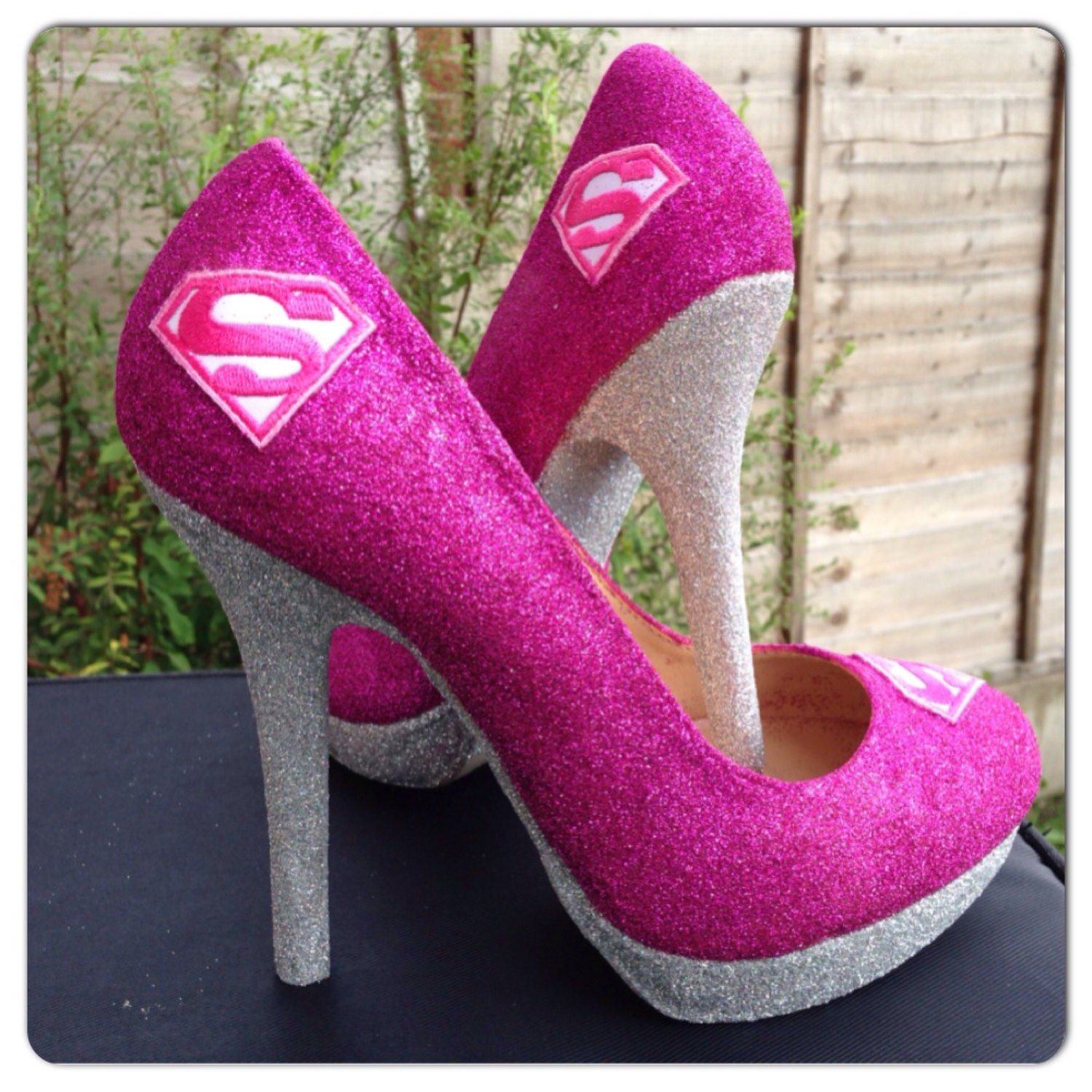 womens shoes heels superman pink and silver superhero glitter