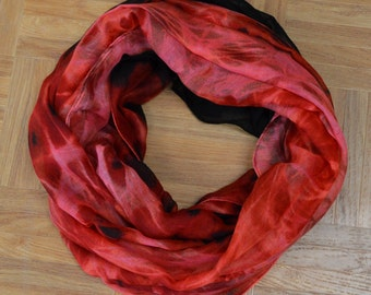 Red Sunset Light Weight X-large Infinity Scarf Loop Cowl