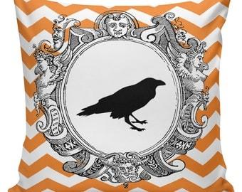 Pillow Cushion Halloween Orange Black Autumn Cotton RQ-106 RavenQuoth All Hallow's Eve Home Decor