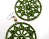 Crochet dangle earrings Olive green