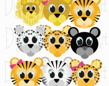 Wild cat clipart, Lion clipart, Tiger clipart, Cats clip art, Jungle cats digital clip art, Clipart Design Elements, digital designs
