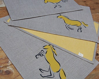 The Herd Placemats - Yellow and Charcoal on Oatmeal (set of 4)