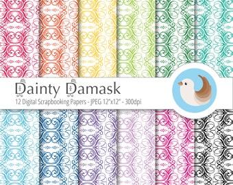 Damask Digital Paper - Dainty Damask Digital Paper - Rainbow Digital Paper - Set of 12 Digital Scrapbooking Papers
