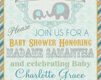 Cirque De Bebe Elephant Baby Shower Invitation