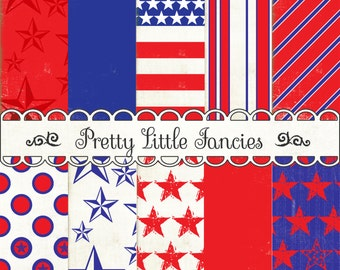4th of July Digital Paper Pack Stars and Stripes Red White and Blue