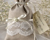 Custom listing (20) Wedding Rustic Favor Bag, Rustic Wedding Favor Bag, Lace Wedding Favor Bag, Wedding Thank You Favor Bags,Linen Gift Bag