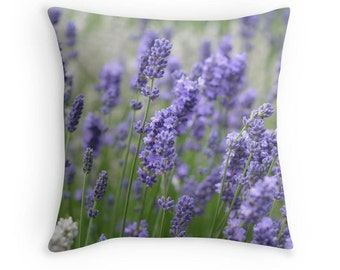 Decorative Throw Pillow Cover or Pair of Shams - Nature, Lavender, Blooming, Floral, Purple, Green, Indoors, Outdoors, Gift, Relax, Healing
