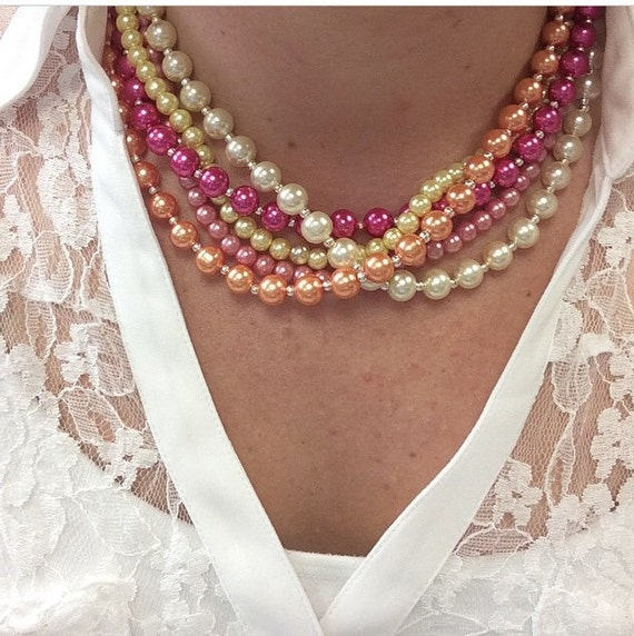Multi-Strand Pearl Bead Necklace