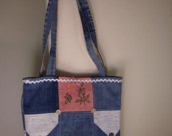 Vintage Linen OOAK Handmade Lined Tote