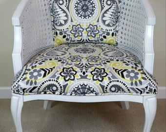 Cane Barrel Chair With Grey Amp Yellow Paisley Upholstery