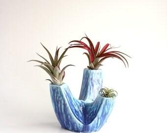 sale blue ceramic mid century modern candle holder . taper ...
